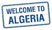 stock photo of algeria  - welcome to Algeria blue grunge square stamp - JPG