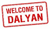 stock photo of dalyan  - welcome to Dalyan red grunge square stamp - JPG