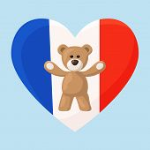 pic of visitation  - Teddy Bears with heart with flag of France - JPG