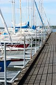 foto of marina  - Several boats moored in the marina attached to wooden bridge - JPG