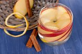 image of cider apples  - Glass of apple cider with fruits and cinnamon on table close up - JPG