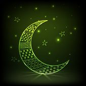 picture of crescent-shaped  - Beautiful green crescent moon decorated by different shapes on stars decorated shiny background for Muslim community festival - JPG