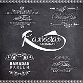 picture of prayer  - Stylish calligraphic or typographic collection for Ramadan Kareem on chalkboard background for Islamic holy month of prayers - JPG