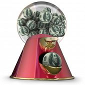 stock photo of dispenser  - Money or hundred dollar bills on gum balls dispensed by a machine to illustrate applying for easy credit or loan funding for a purchase - JPG