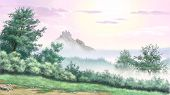 image of descending  - Morning fog descended mountains - JPG