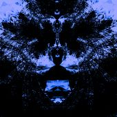 image of psychedelic  - Intricate psychedelic blue background - JPG