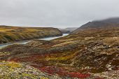image of chukotka  - Colorful autumn tundra and river Amguema Chukotka - JPG
