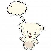pic of bear cub  - cartoon polar bear cub waving with thought bubble - JPG