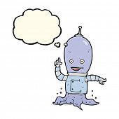 picture of spaceman  - cartoon alien spaceman with thought bubble - JPG