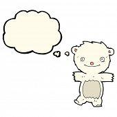 stock photo of bear cub  - cartoon polar bear cub with thought bubble - JPG
