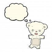 image of bear cub  - cartoon teddy polar bear cub with thought bubble - JPG
