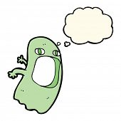 foto of funny ghost  - funny cartoon ghost with thought bubble - JPG