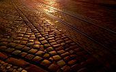pic of paving stone  - Paving stone at dawn - JPG