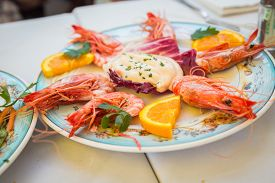 pic of shrimp  - Dish with shrimp on the table in the restaurant - JPG