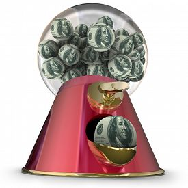 image of gumball machine  - Money or hundred dollar bills on gum balls dispensed by a machine to illustrate applying for easy credit or loan funding for a purchase - JPG