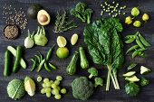 Flat lay series of assorted green toned vegetables, fresh organic raw produce poster
