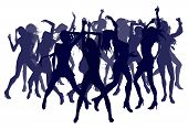 picture of ladies night  - Group of sexy beautiful women dancing in silhouette - JPG