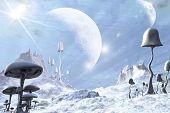 Gefrorene blauen Außerirdischen Landschaft