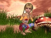 pic of shroom  - Just a little elf out gathering shrooms for an early morning mushroom concoction - JPG