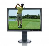 LCD monitor and golfer isolated over a white background
