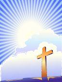 Cross and bright light over a sunburst sky.