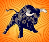 Bull charging over a concentric background - VECTOR