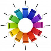 stock photo of color wheel  - Paint Rollers with color wheel hues isolated over white background - JPG