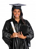 African American graduate holding diploma isolated over white