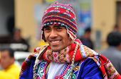 CUSCO PERU - SEPTEMBER 5: Portrait of Quechua man dressed in traditional clothing, Cusco, Peru on Se