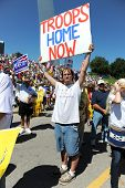 SAINT LOUIS, MISSOURI - SEPTEMBER 12: Man holding sign at rally of the Tea Party Patriots in Downtow