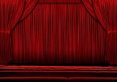 Large Red theater curtain with lights and shadows