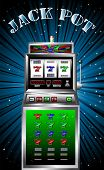 stock photo of poker machine  - lucky seven slot machine vector illustration - JPG