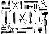 foto of scissors  - collection beauty hair salon or barber accessories - JPG