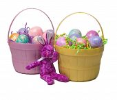 Two Easter Baskets With A Bunny