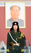 BEIJING, CHINA - DECEMBER 17: A paramilitary police officer guards Tian'anmen square on December 17,