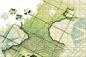 Puzzle Compass & map (Portuguese escudo close up)