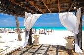 Beautiful caribbean beach with gazebo in Dominican Republic