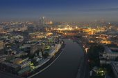 Постер, плакат: Big Moskvoretsky Bridge Moskva river Kremlin with illumination in Moscow Russia view from Stalin