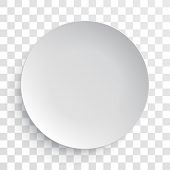 Empty white dish plate background. Vector round dinner plate. Paper plate illustration on transparen poster