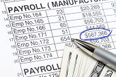 picture of payroll  - Payroll abstract with US dollars and payroll spreadsheet - JPG