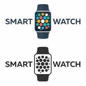 Smart Watch Isolated On White. Logo. Stainless Silver . Vector With App. Reflected Surface. Icon Scr poster