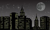 illustration with night city under star sky
