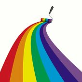 Rainbow Drawn Roller Brush On The White. Isolated 3D Image