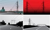 set of landscapes with electric line near road