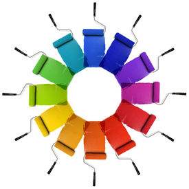 foto of color wheel  - Paint Rollers with color wheel hues isolated over white background - JPG