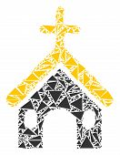 Christian Church Collage Of Triangle Items In Various Sizes And Shapes. Vector Polygons Are United I poster