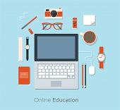 Flat Design Vector Illustration Of Workstation. Computer Desk poster