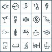 Eating Icons Set With Table, Plant, Coffee Cup And Other Hot Drink Elements. Isolated Vector Illustr poster