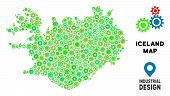 Gear Iceland Map Mosaic Of Small Wheels. Abstract Territorial Scheme In Green Color Tones. Vector Ic poster