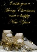 stock photo of christmas cards  - Christmas greeting card with candles balls and golden garlands - JPG